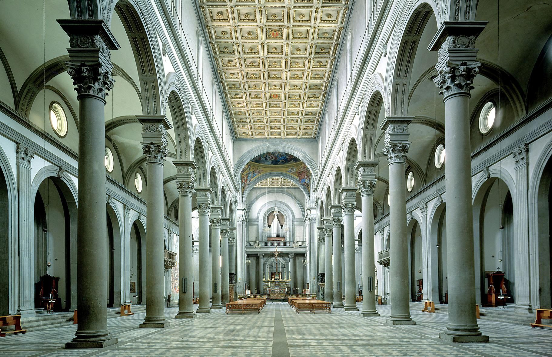 Interior of San Lorenzo, by Filippo Brunelleschi, ca. 1421 ...