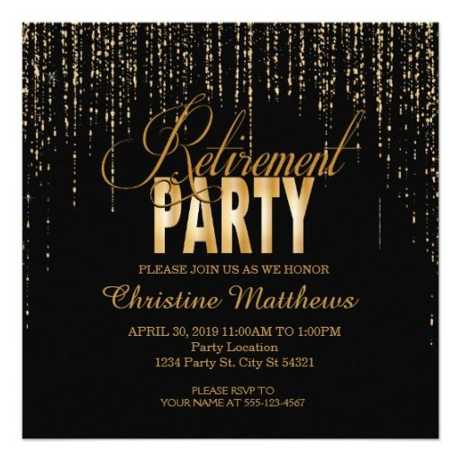 Black And Gold Retirement Party Invitations Retirement Party