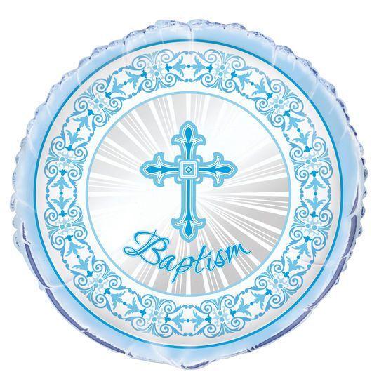 Dove Cross Communion Blue Boys 1st Holy Unique Party 18 Inch Foil Balloon
