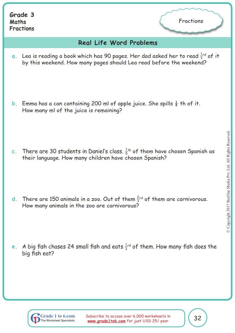 Worksheet Grade 3 Math Real Life Word Problems Word Problems Free Math Fraction Word Problems