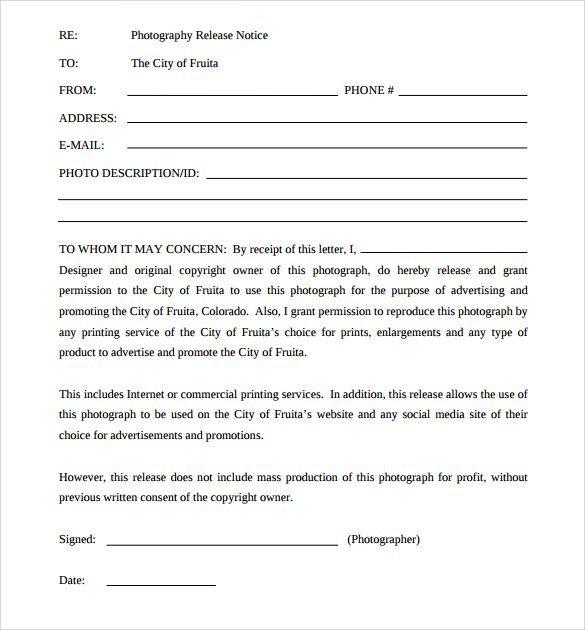 Sample Print Release Forms 6 Free Documents In Pdf Photography