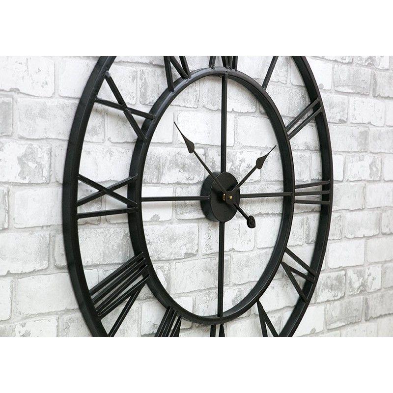 Zegar ścienny Czarny Retro 76 Cm Metalowy Duży Vintage