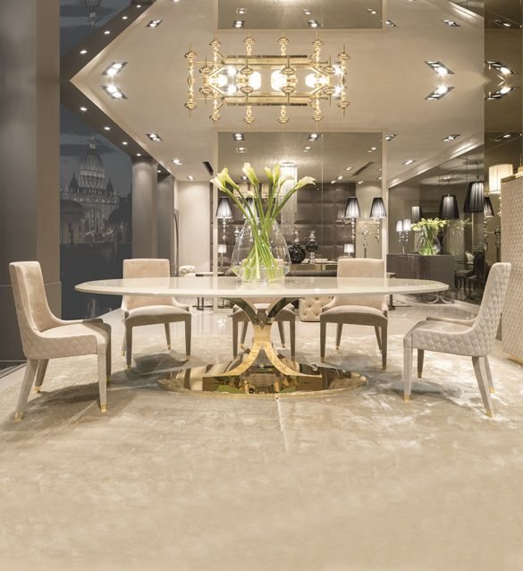 Designer Dining Room Tables: High End Gold Oval Designer Dining Table Set In 2019