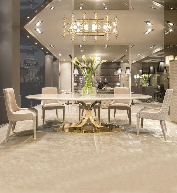 High End Gold Oval Designer Dining Table Set Dining Table Design