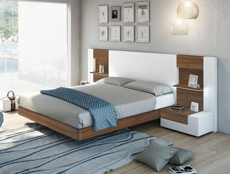 Modern Garcia Sabate Altea Bed in Matt White & Nogal Wood