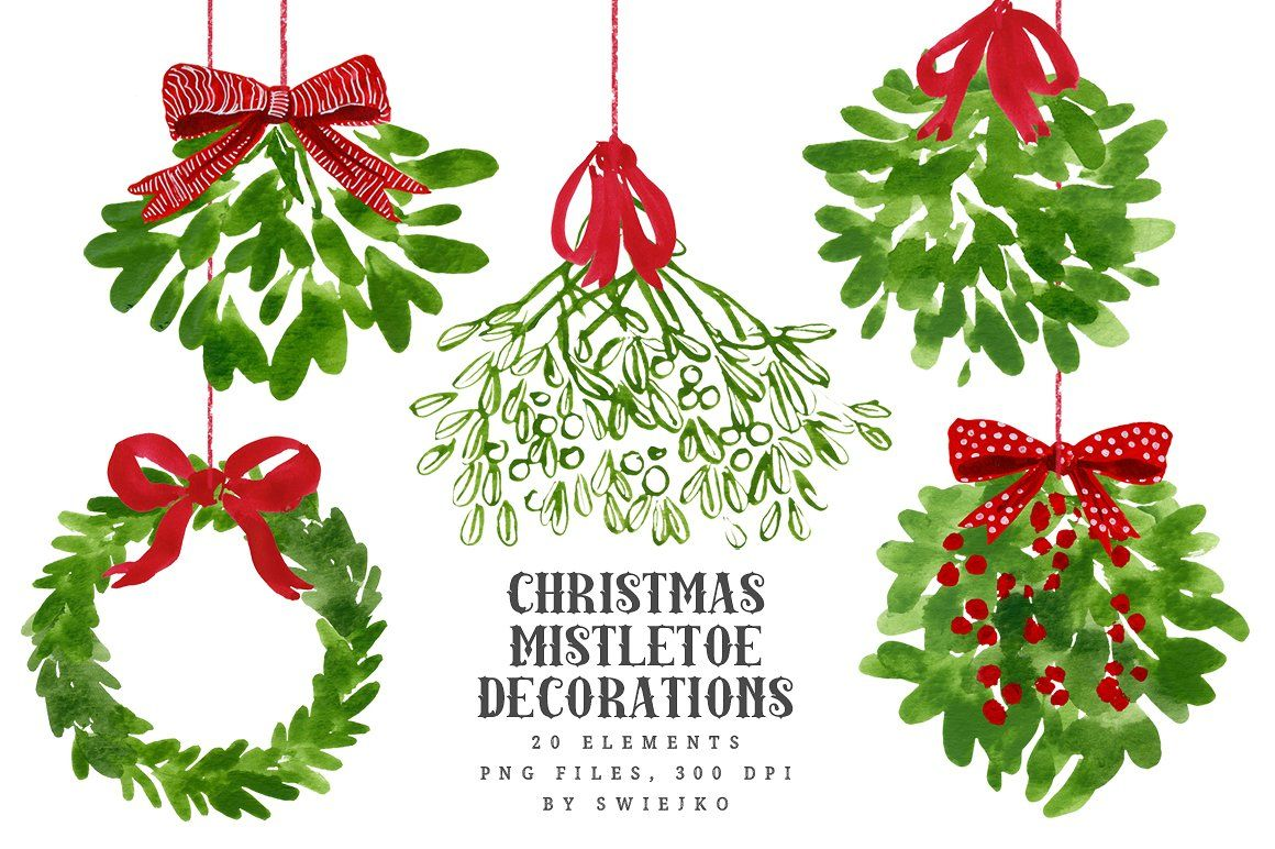 Christmas decorations clipart images - Mistletoe Christmas Clip Art By Swiejko On Creativemarket