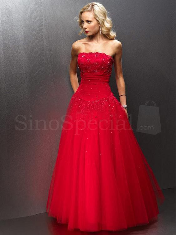 Strapless Beaded Tulle Red Ball Gown Prom Dress | Elegant Prom ...
