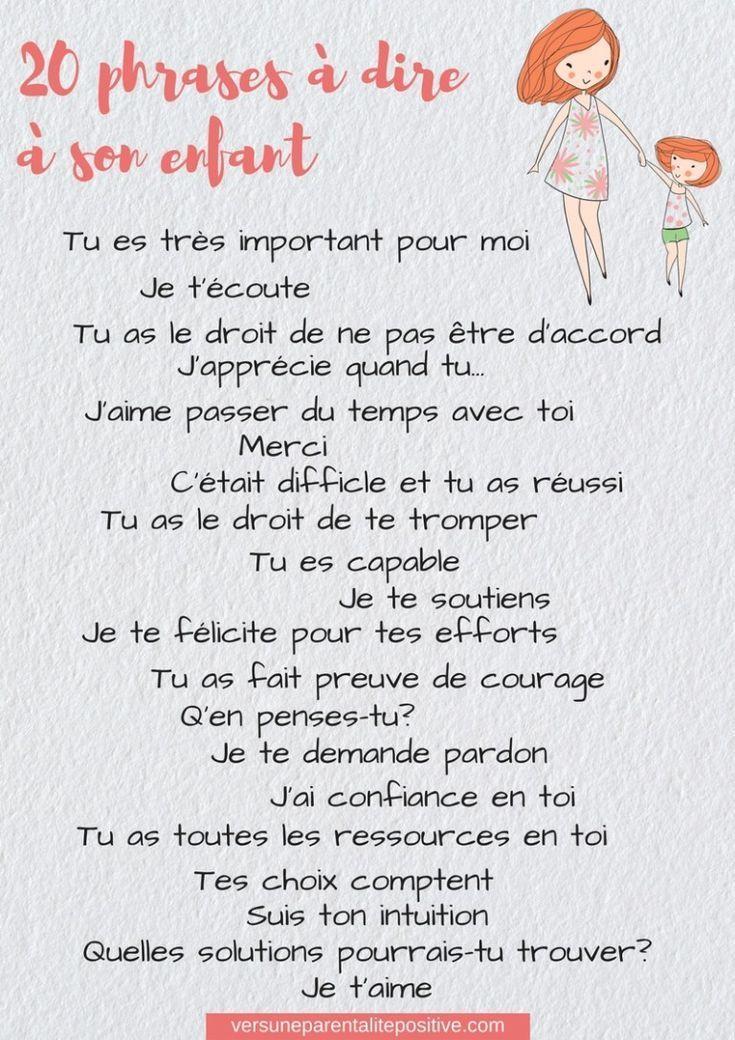 20 phrases à  dire à  son enfant-vers une parentalité positive #confianceensoi #confiance #enfant