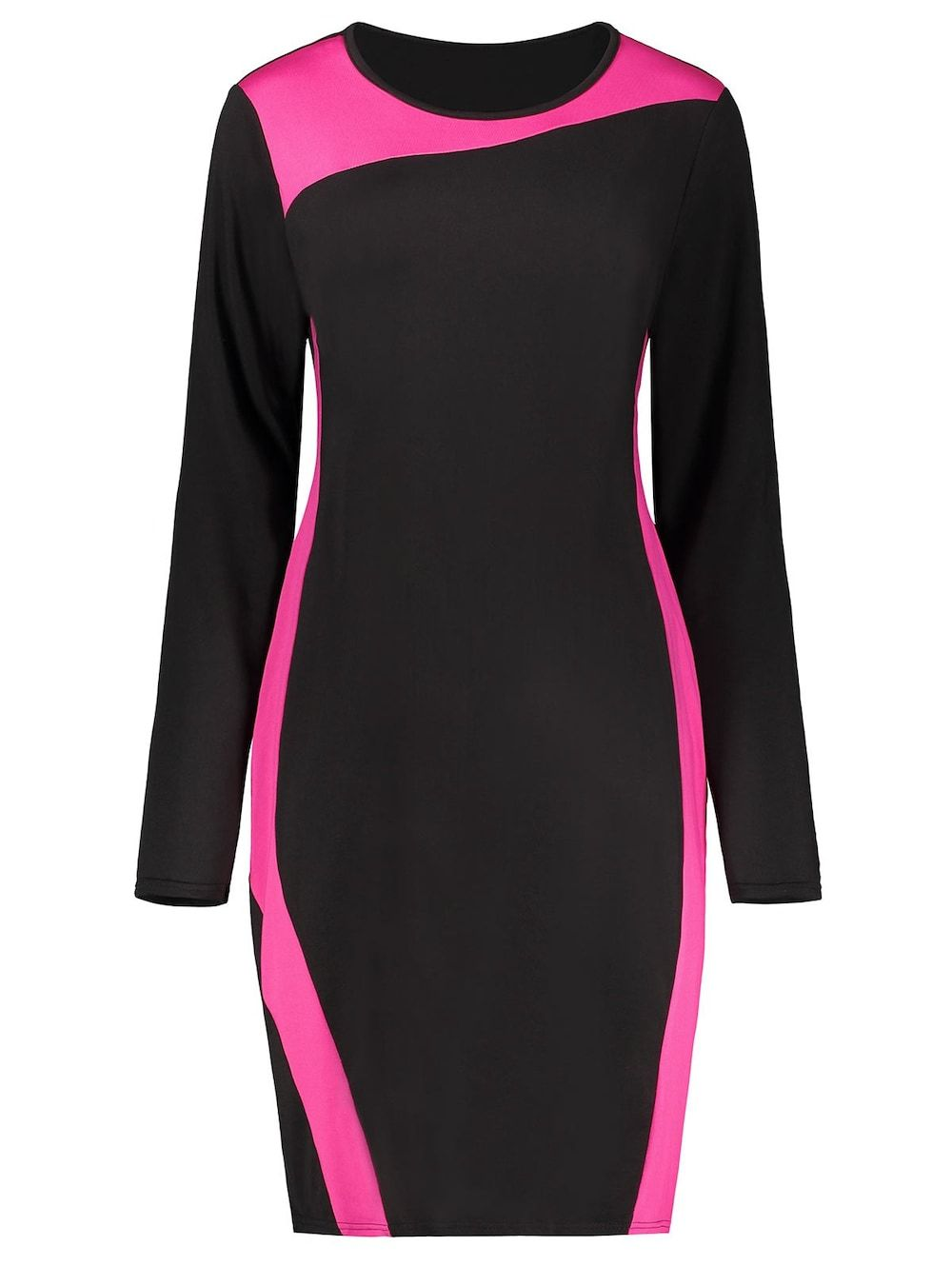 Two tone color block long sleeve plus size dress in baseball