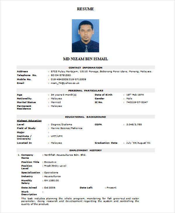 Rfic Design Engineer Sample Resume Image Result For Resume Format  India Bistro  Kondapur  Pinterest