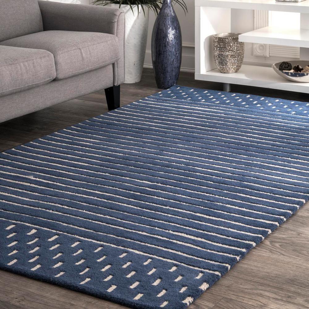 Nuloom Marlowe Stripes Navy 8 Ft X 10 Ft Area Rug Mtnr01a 76096 In 2020 Area Rugs Wool Area Rugs Area Rugs For Sale