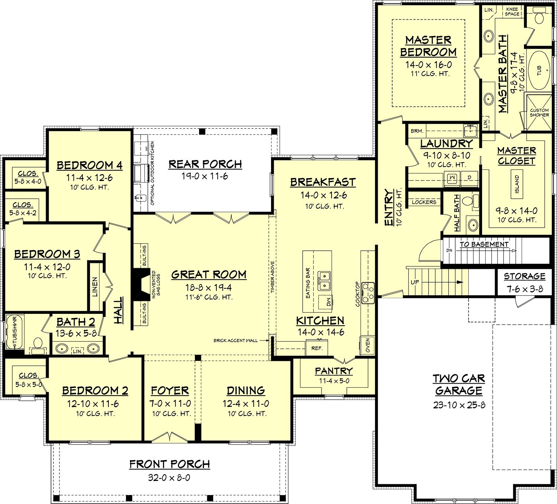 Farmhouse Style House Plan 4 Beds 2 5 Baths 2686 Sq Ft Plan 430 156 Farmhouse Floor Plans Farmhouse Style House Plans House Plans Farmhouse