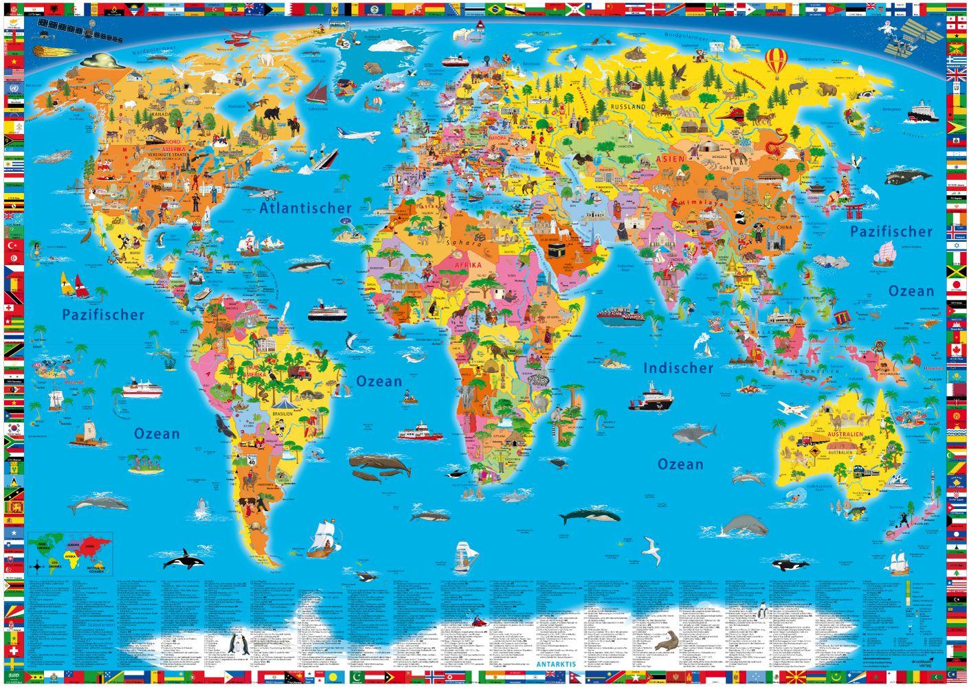 Illustrierte politische Weltkarte von K&S druckbunt Verlag