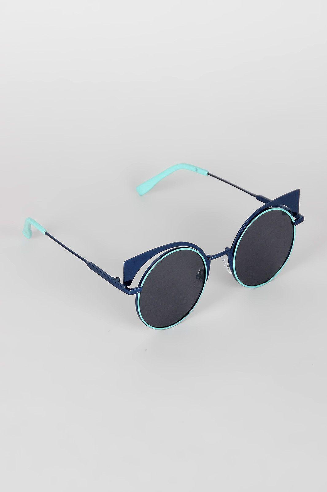 Metallic Cat Eye Round Sunglasses