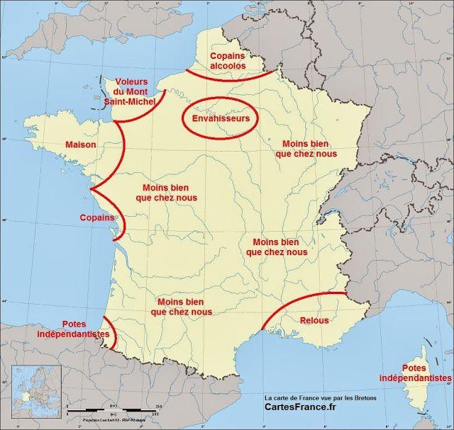 Carte De France Vue Par Les Francais Carte De France Cartes