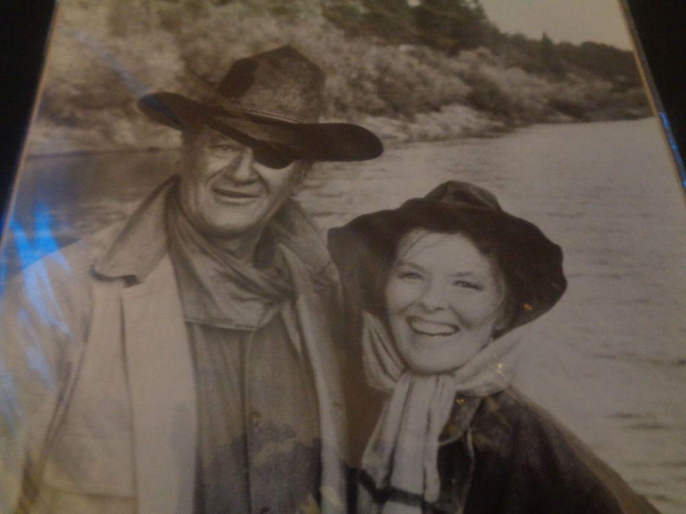 Black and white Photo of John Wayne and Katherine Hepburn