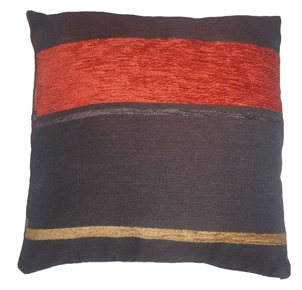 Quality Chocolate & Orange Striped Pattern Woven Tapestry Fabric Cushion Cover
