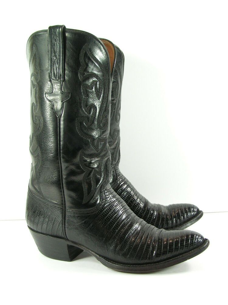 d0881971e8f Lucchese cowboy boots mens 8 D black lizard skin leather western ...