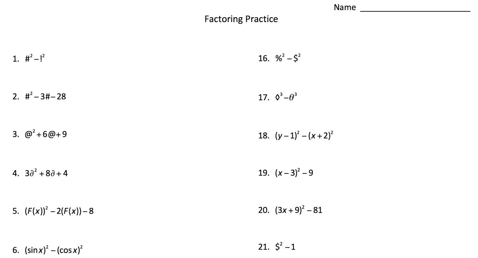 Factoring With Symbols Using Symbols Instead Of Numbers To Help Students See The Factoring Patterns Mrseteac Algebra Algebra Worksheets Geometry Worksheets