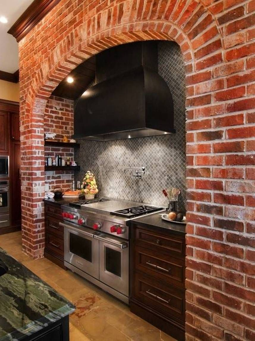 Kitchen Island Ideas Brick brick for the back splash and wallstove for italian style