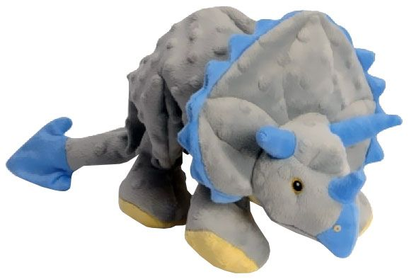 Godog Frills Dinosaur Triceratops With Chew Guard Grey Dog