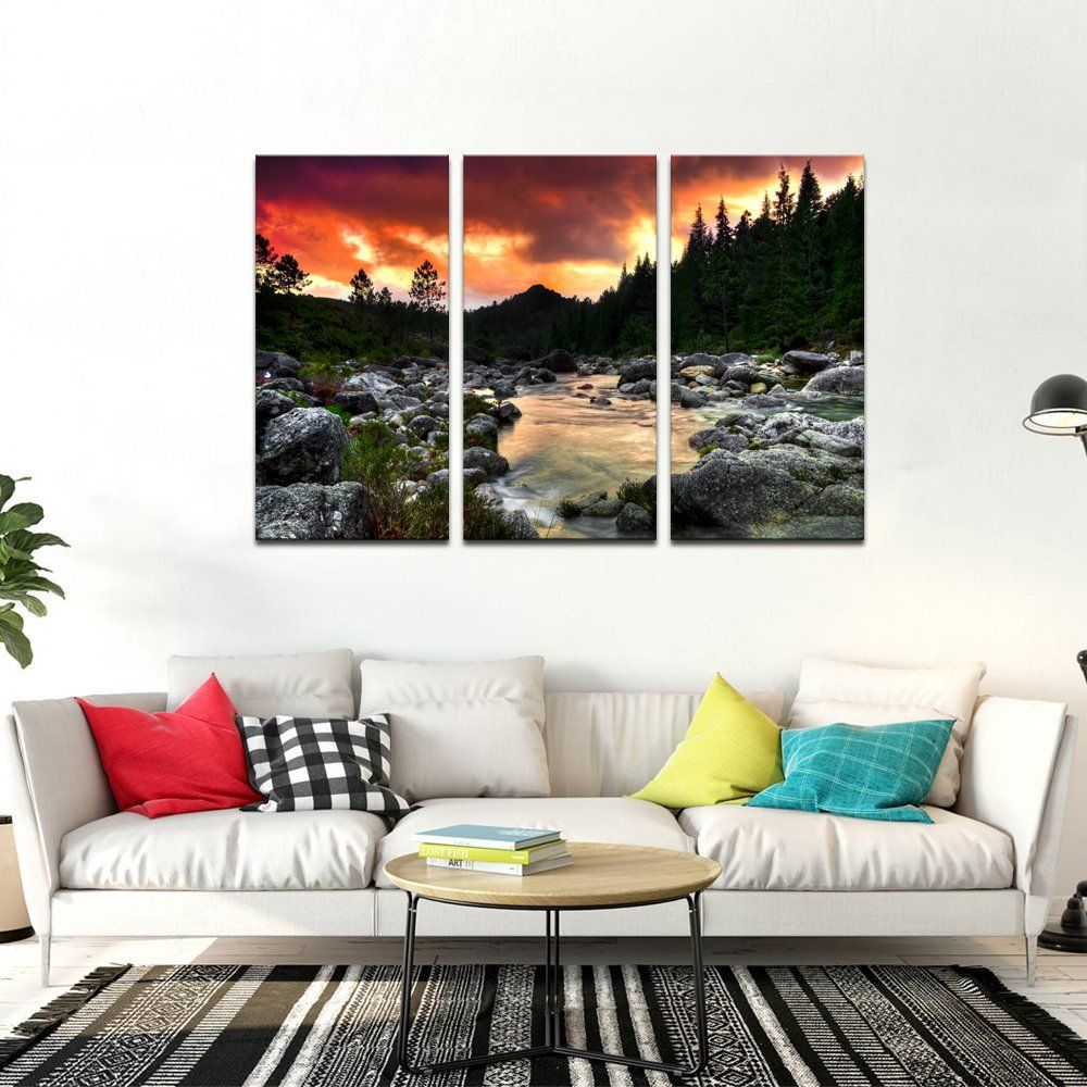 Sea Charm Mountain Wall Paintings For Living Room Beautiful River At Sunset Landscape Picture Mountain Wall Painting Living Room Paint Beautiful Living Rooms #nice #living #room #paintings