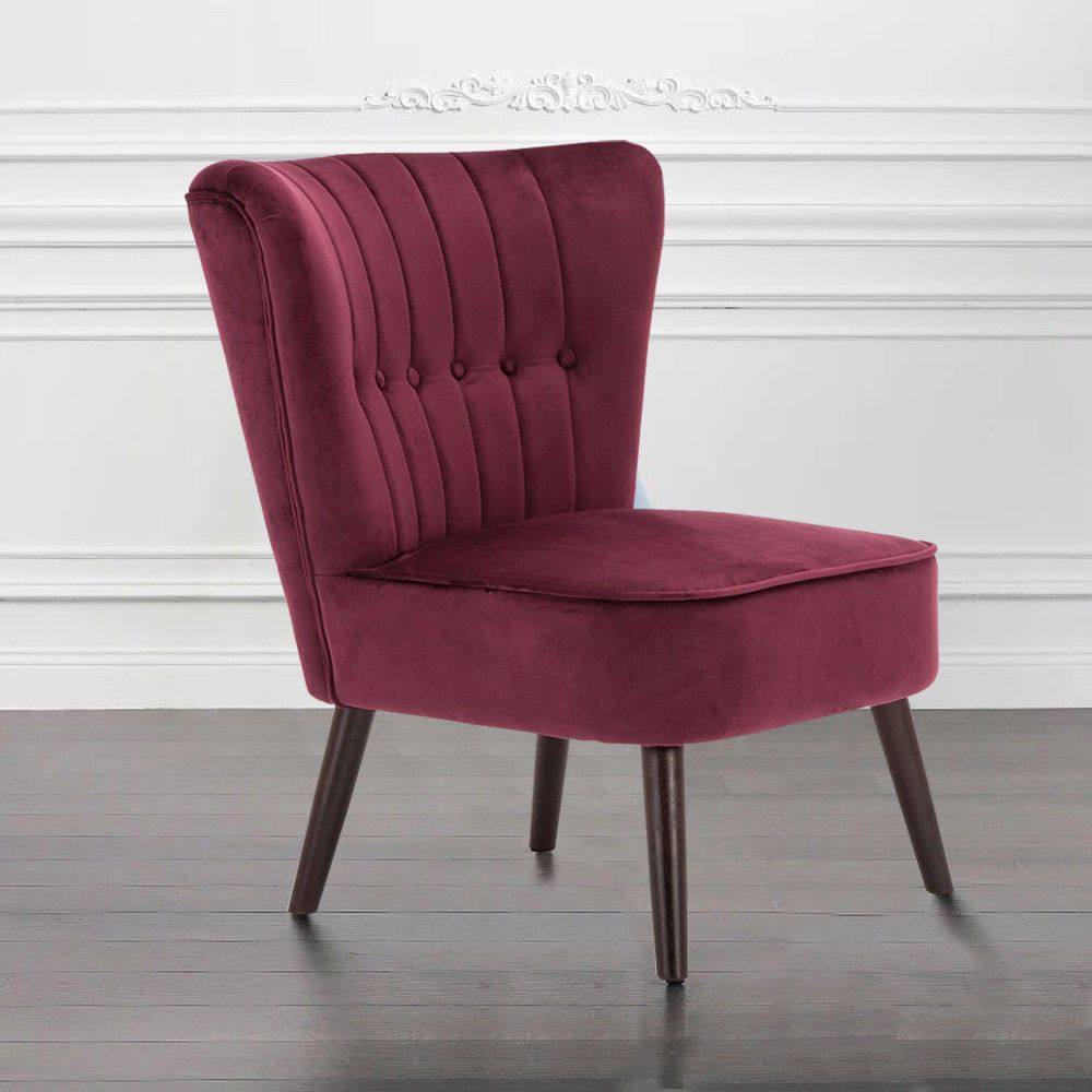 Details about noble velvet wine red tufted lounge