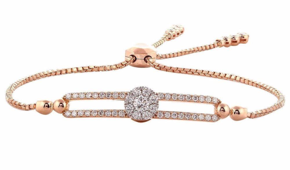 3 4 Ctw 100 Natural Diamond Bolo Adjustable Bracelet In 10k Rose Gold Chain 9 Caratsforyou Bolo Engagementweddinganniversarypromi Adjustable Bracelet Sterling Silver Bracelets Rose Gold Chain