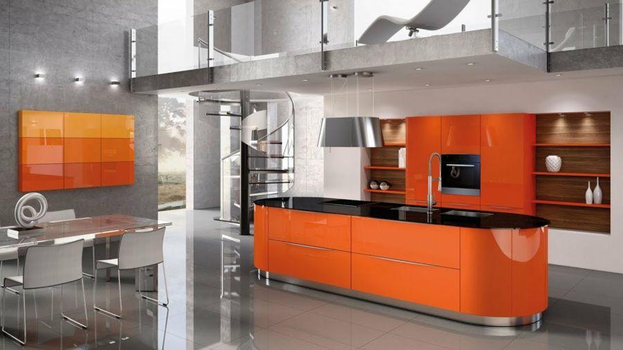 Die Orange Küchengestaltung! Sie werden diesen Raum mit Ruhe und ...
