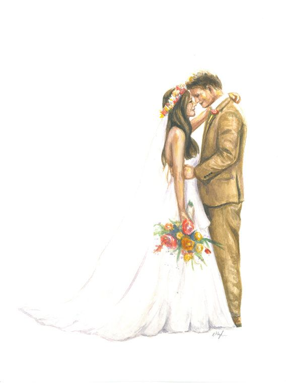 Custom Illustration Painting Wedding Couple Portrait Etsy Wedding Drawing Couple Illustration Wedding Illustration