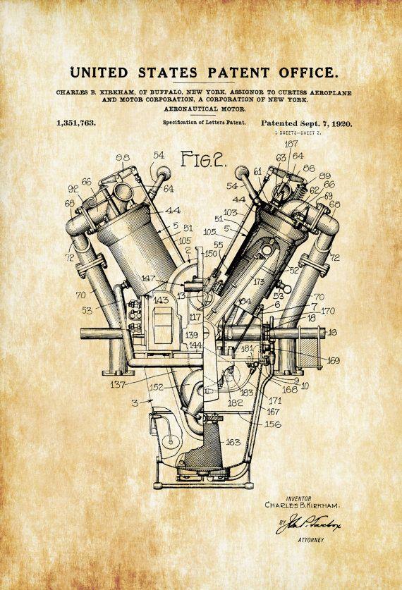 Aircraft motor patent vintage airplane engine patent airplane piloto de avin patente motor aeroplano vintage motor malvernweather Images