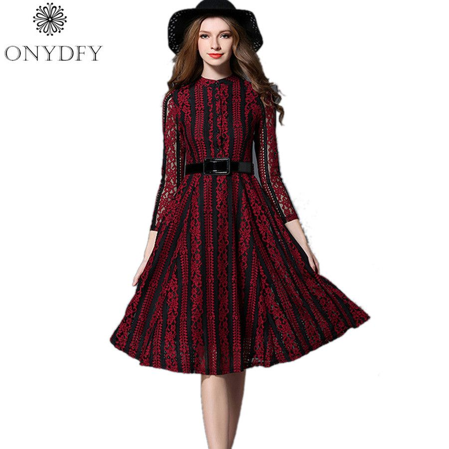 Luxury runway dresses women high quality autumn green red lace