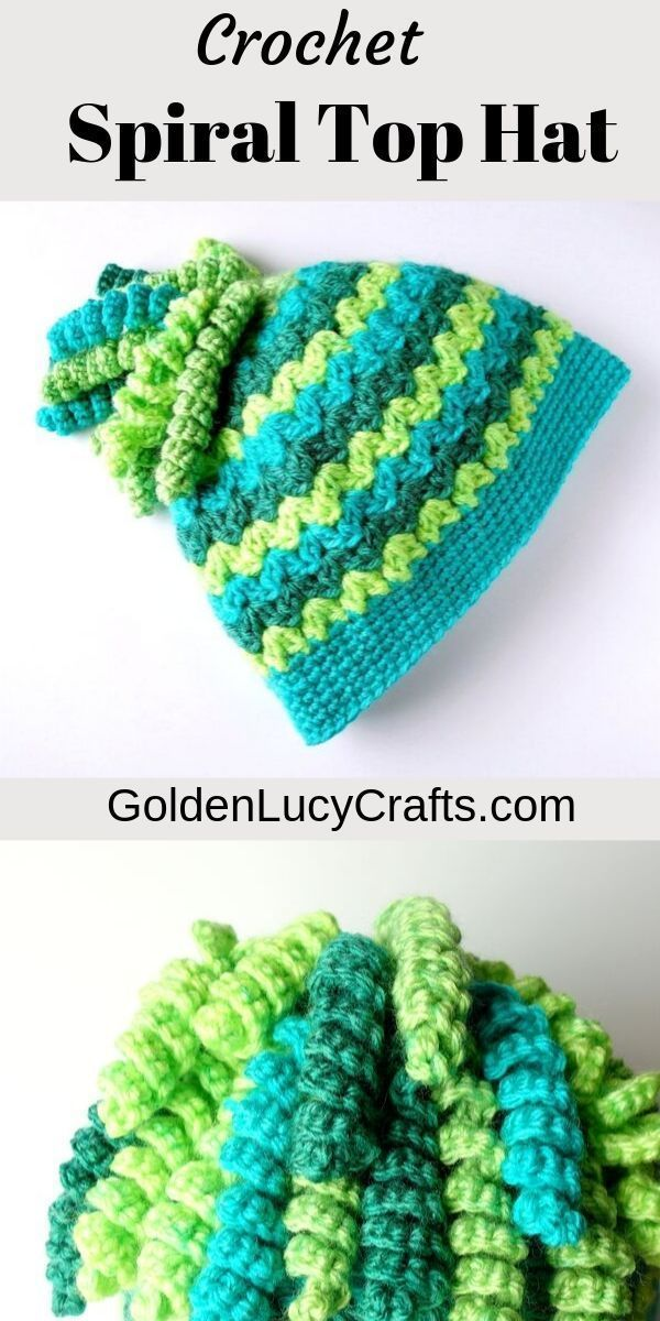 Spiral Top Messy Bun Hat, Caron Cakes Yarn Last year the Messy Bun Hat was very popular. But what are you suppose to do if you cut your hair and don\u2019t have any more ponytail to go through the hole in the top? #kidsmessyhats
