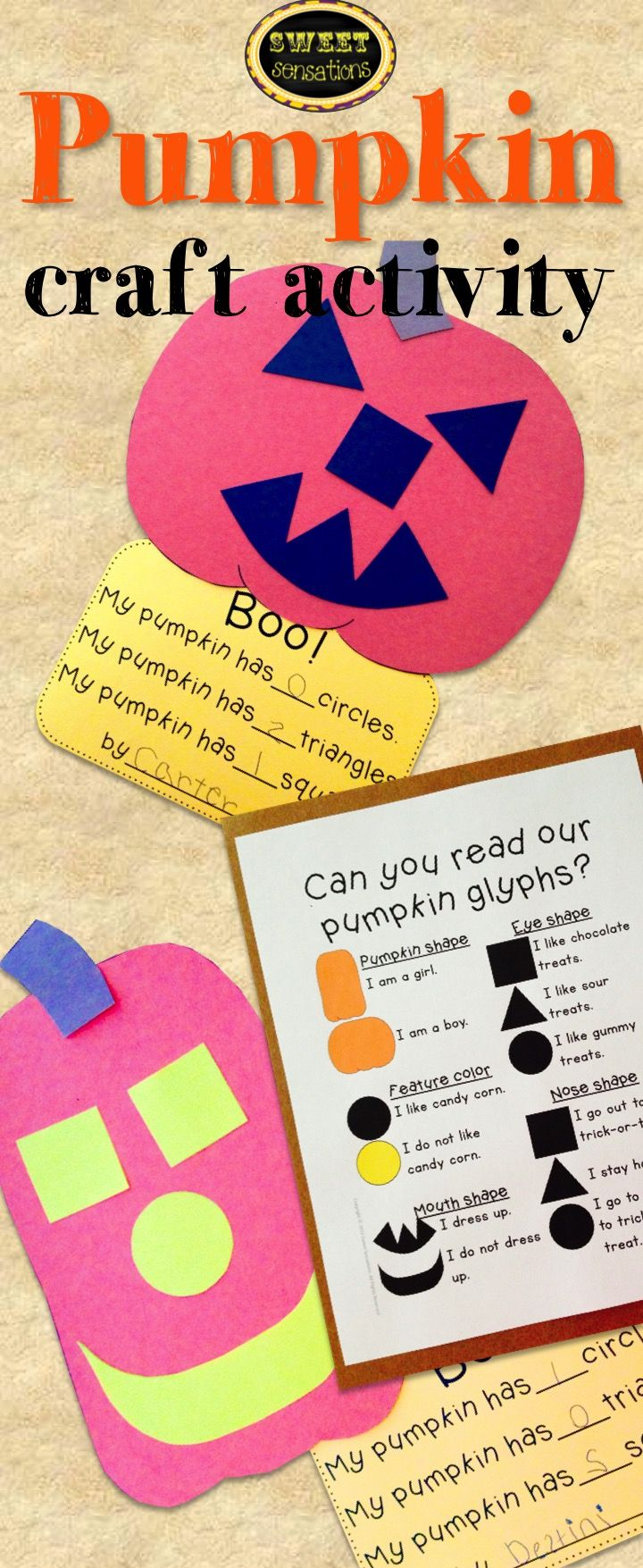pumpkin glyph and shape craft templates and step by step directions - Halloween Glyphs