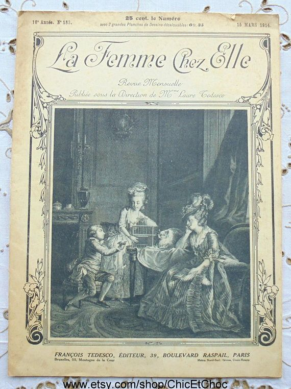 Antique French Fashion /& Needlecraft Magazine with Embroidery and Cutwork Patterns /'La Femme Chez Elle/'