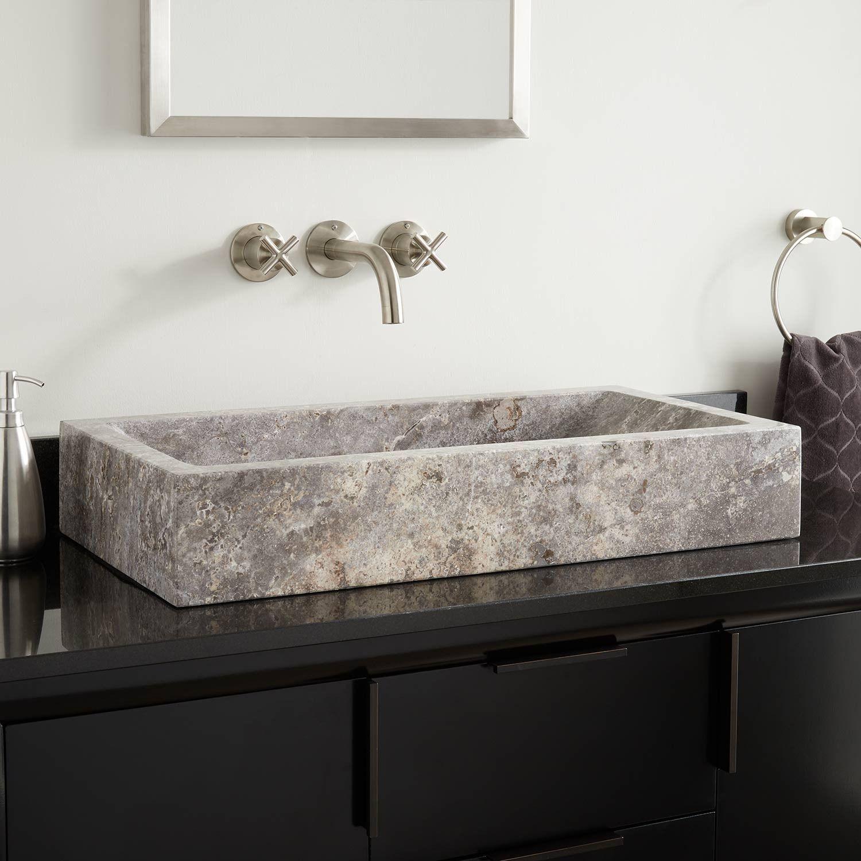 Rectangular Travertine Vessel Sink With Slope Basin Bathroom