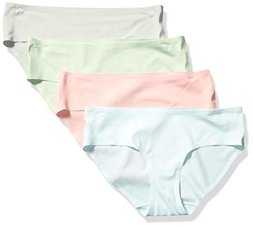 Essentials Womens 4-Pack Seamless Bonded Stretch Thong Panty