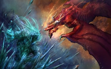 Fire VS Ice fire ice giant dragon ice Fantasy