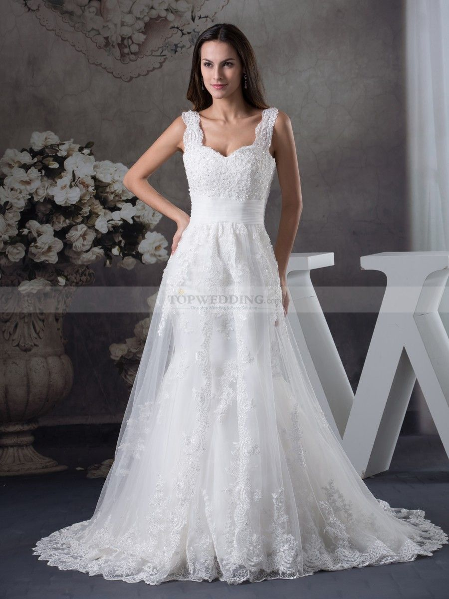 Spaghetti Strapped Tulle and Satin Wedding Dress with Appliques ...