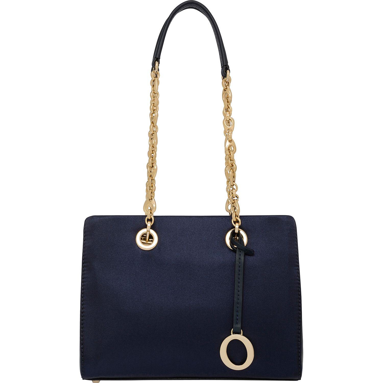 Oroton Handbags Alpine Chain Satin Mini Tote In Blue Night 395