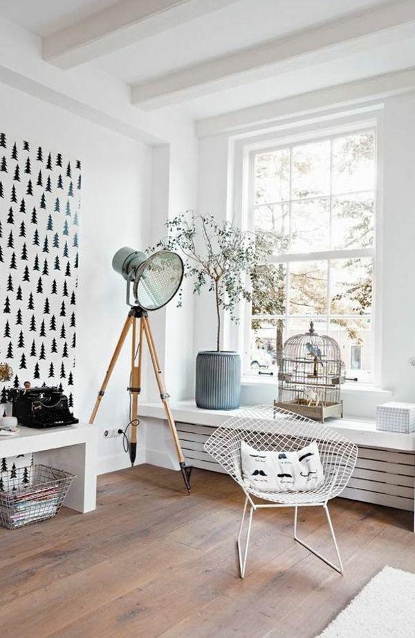 Skandinavische Möbel Wohnzimmer Holzboden Standleuchte