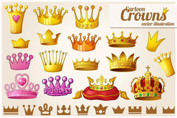 Set of royal golden crowns by Ann-zabella on @creativemarket