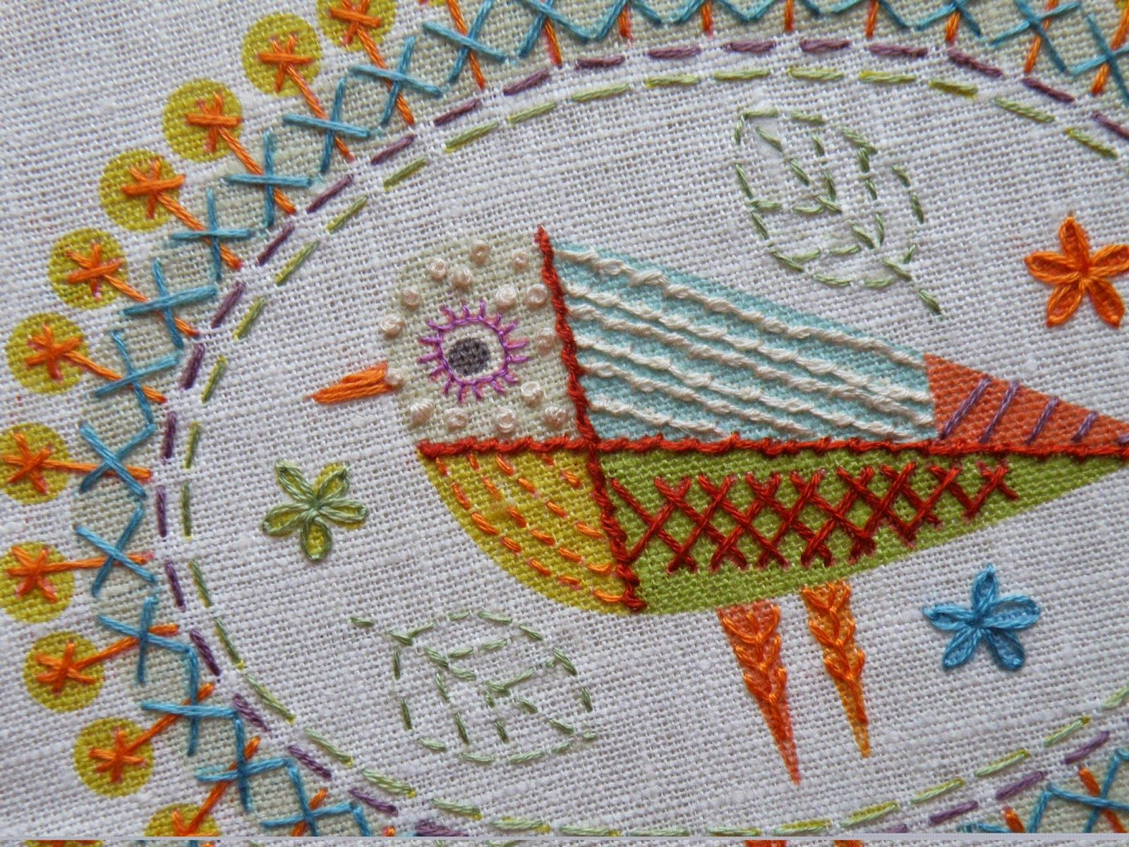 Nancy nicholson birdie embroidery kit detail