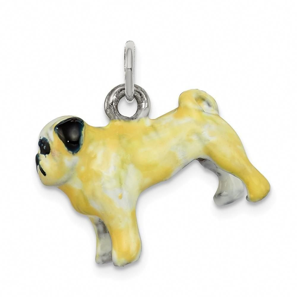 925 Sterling Silver Enameled Fawn Pug Charm And Pendant Fawnpugs