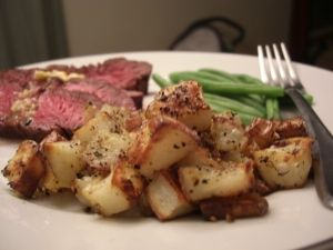 Broiled Flank Steak and Oven roasted Rosemary Potatoes