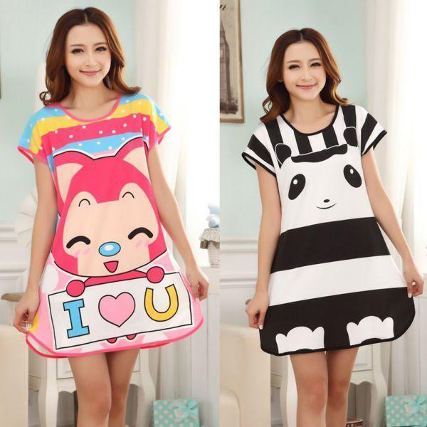 b080f20a26 Cute Cartoon Nightdress Women S Nightwear Sleepwear Pajamas Girls Sleep  Dress