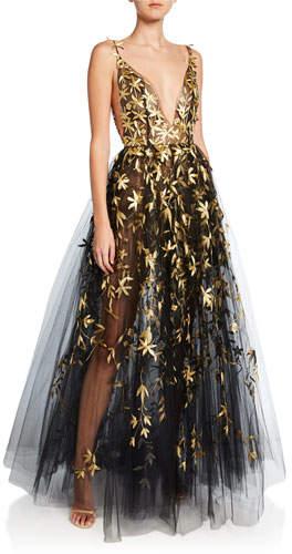 Oscar De La A Golden Fl Embroidered Tulle Illusion