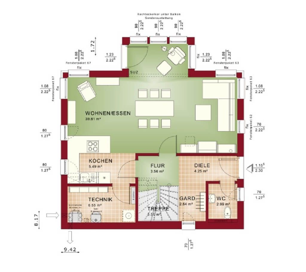 EINFAMILIENHAUS Grundriss EG * Haus Edition 1 V7 Bien Zenker ...