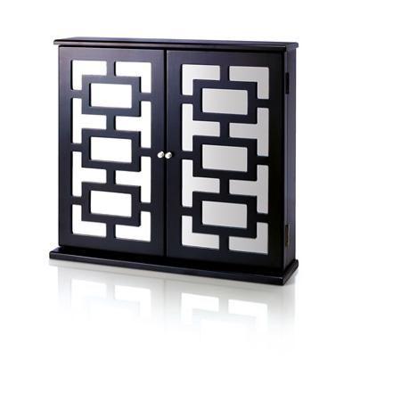 Mirror And Rectangular Design Hanging Jewelry Box Black Finish