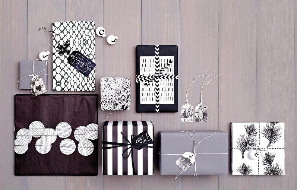 Geschenk Einpack Ideen geschenke einpacken in schwarz und weiß purismus geschenkpapier